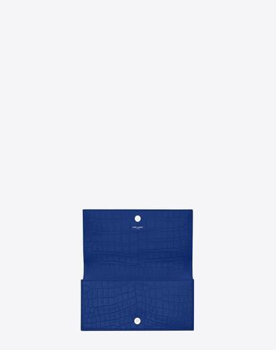 Saint Laurent Classic Kate Monogram Saint Laurent Clutch In Royal Blue Crocodile Embossed Leather