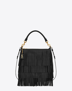 Small EMMANUELLE Fringed Hobo Bag nera in pelle