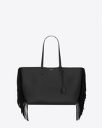 Large SHOPPING SAINT LAURENT fringed tote bag in Black Leather