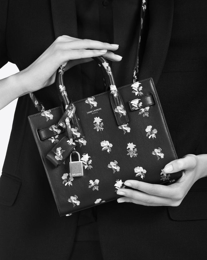 Monogram Saint Laurent Chain Wallet In Black And Multicolor Prairie Flower Printed Leather