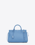 Small CABAS RIVE GAUCHE Bag in Light Blue Grained Leather
