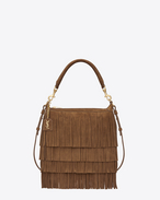 Small EMMANUELLE Fringed Hobo Bag color ocra chiaro in scamosciato