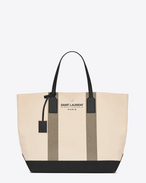 BEACH Shopping East/West Tote Bag in Light Beige and Khaki Canvas and Black Leather