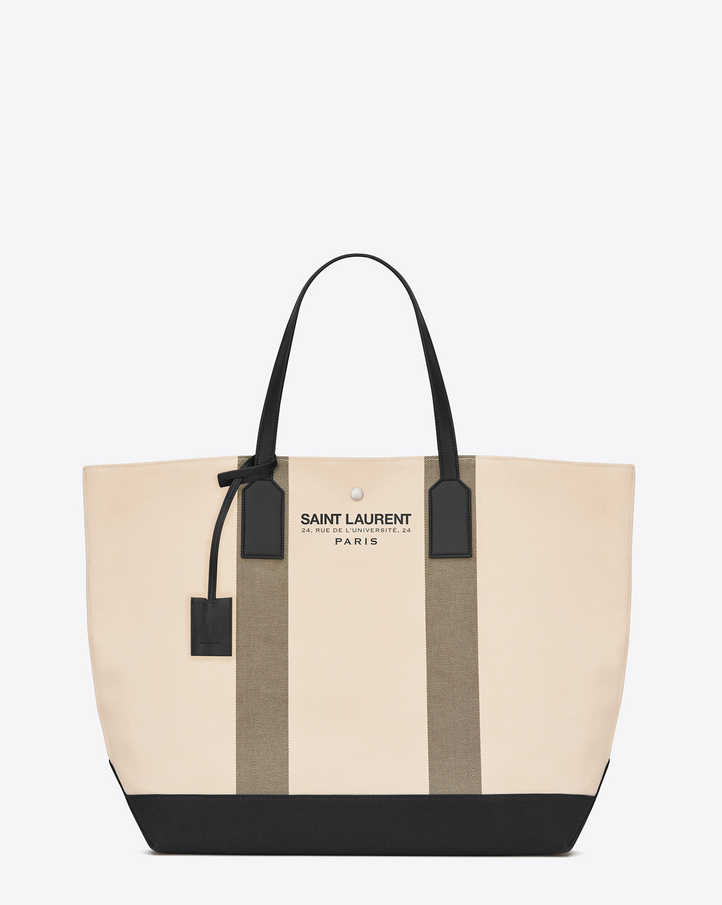 Saint Laurent BEACH Shopping East/West Tote Bag In Light Beige And ...