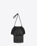 Small HELENA Fringed Bucket Bag in Black Leather and Oxidized Nickel