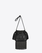 Kleine HELENA Bucket-Tasche aus schwarzem Leder und oxidiertem Nickelzierrat mit Fransen