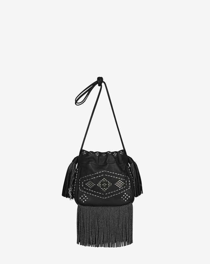 Saint Laurent Small HELENA Fringed Bucket Bag In Black Leather And ...