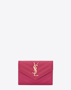 Small MONOGRAM SAINT LAURENT Envelope Wallet in Lipstick Fuchsia Grain de Poudre Textured Matelassé Leather