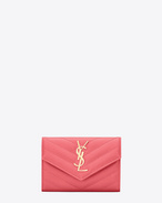 Small MONOGRAM SAINT LAURENT Envelope Wallet in Light Rose Grain de Poudre Textured Matelassé Leather