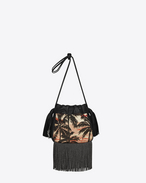 Small HELENA Fringed Bucket Bag in Red, Yellow and Black Sunset Jacquard and Black Leather