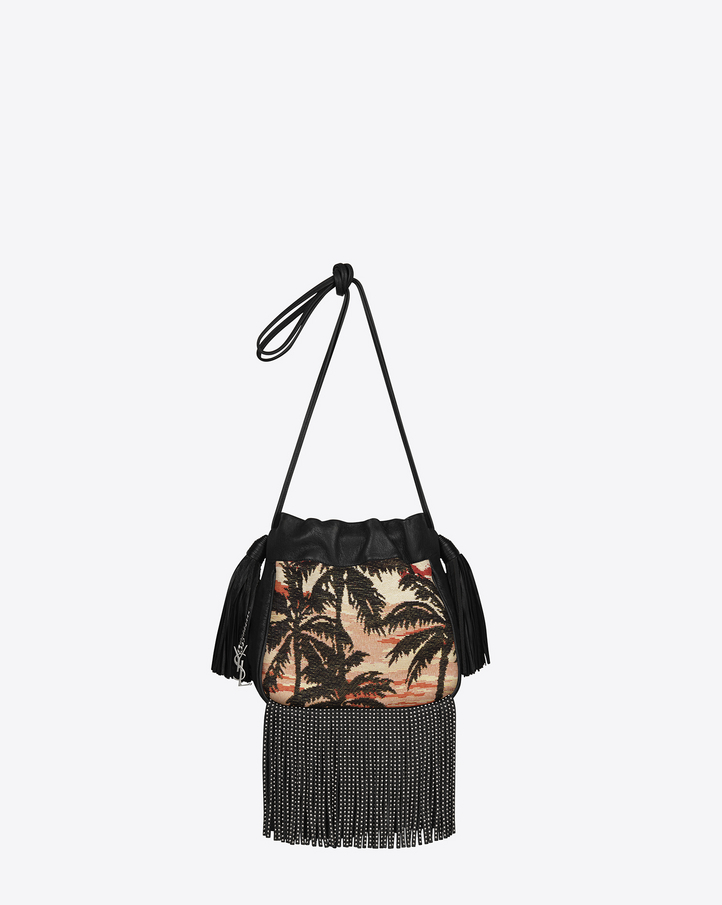 Saint Laurent Small HELENA Fringed Bucket Bag In Jacquard a Motivo ...