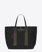 BEACH Shopping East/West Tote Bag in Black and Khaki Canvas and Black Leather