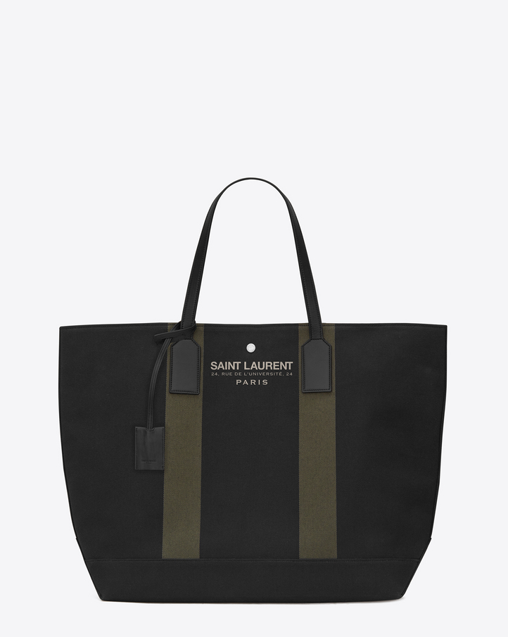 Saint Laurent BEACH Shopping East/West Tote Bag In Black And Khaki ...