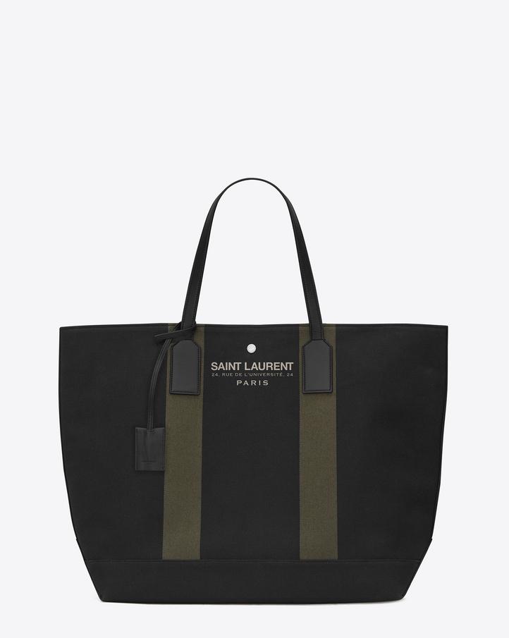Saint Laurent BEACH Shopping East/West Tote Bag In Black And Khaki ...