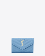 Small MONOGRAM SAINT LAURENT Envelope Wallet in Light Blue Grain de Poudre Textured Matelassé Leather