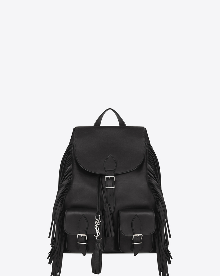 small black bag with chain strap - Saint Laurent FESTIVAL Fringed Backpack In Black Leather | YSL.com