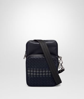 SAC MESSENGER EN NAPPA INTRECCIATO TOURMALINE ET NEW LIGHT GREY