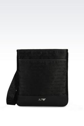 Armani Messenger bags Men flat messenger bag in logo patterned jacquard