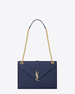 CLASSIC LARGE MONOGRAM SAINT LAURENT SATCHEL IN Blue Grain De Poudre Textured MATELASSÉ LEATHER