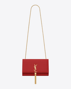 Classic Medium Monogramme Saint Laurent Tassel Satchel rosso lipstick in pelle