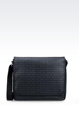Armani Messenger bags Men messenger bag in logo patterned faux leather