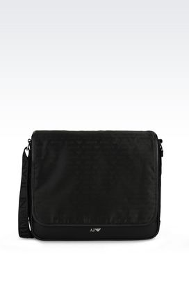 Armani Messenger bags Men messenger bag in logo patterned jacquard