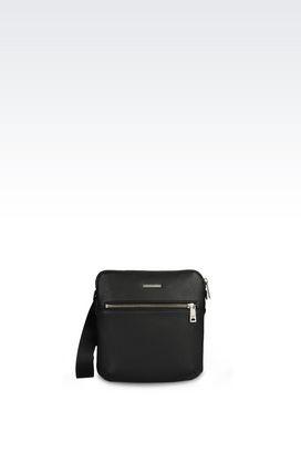 Armani Messenger bags Men flat messenger bag in faux leather