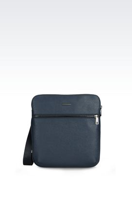 Armani Messenger bags Men flat messenger bag in faux saffiano