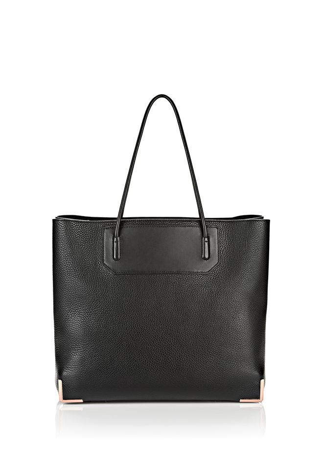 ALEXANDER WANG TOTES Women PRISMA LARGE TOTE IN PEBBLED BLACK WITH ROSE GOLD