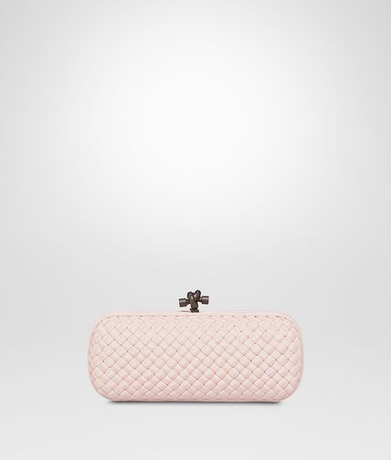 STRETCH KNOT CLUTCH IN PETALE INTRECCIO FAILLE MOIRE