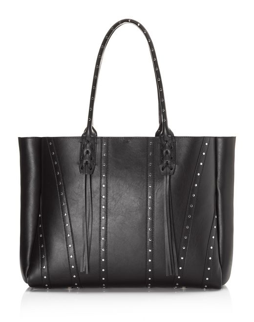 lanvin small shopper bag in smooth calfskin and studs women