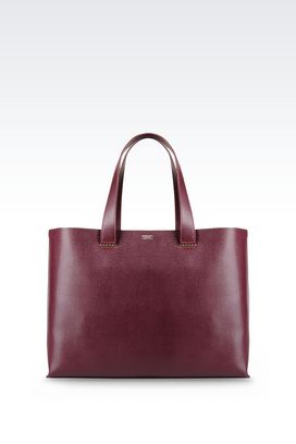 Armani Shoppers Women unlined shopper charnière dorée in saffiano calfskin