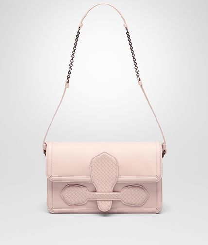 SHOULDER BAG IN NEW PETALE NAPPA WITH MICROINTRECCIATO DETAILS