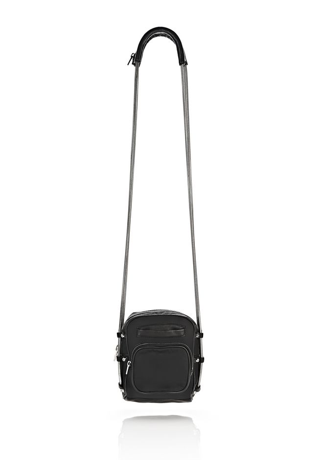 ALEXANDER WANG Shoulder bags Women BRENDA CAMERA IN BLACK LEATHER AND NYLON
