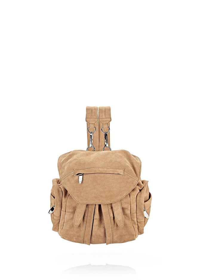 ALEXANDER WANG BACKPACKS Women MINI MARTI IN NUDE NUBUCK WITH RHODIUM
