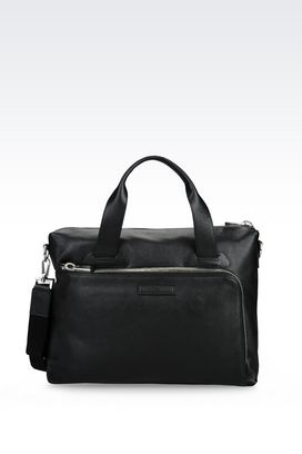 Armani Briefcases Men briefcase in grainy calfskin