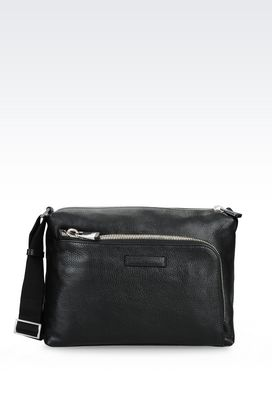 Armani Messenger bags Men shoulder bag in grained calfskin