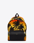 Classic HUNTING backpack in Red, Yellow and Black Palm Trees at Sunset Printed Nylon and Black Leather