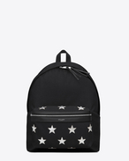 classic city california backpack in black nylon and silver metallic leather