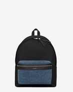 Classic HUNTING backpack in Black Nylon and Leather and Light Blue Denim