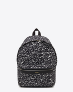 Classic HUNTING backpack in Black and White Paint Splatter Printed Nylon and Black Leather