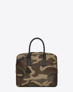 Classic Small MUSEUM Briefcase in Camouflage Grain De Poudre Textured Leather and Black Leather