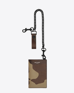RIDER North/South Chain Wallet in Camouflage Grain De Poudre Textured Leather