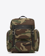 HUNTING Multi-pocket Rucksack in Camouflage Cotton Gabardine and Black Leather