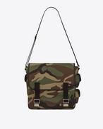 ARMY Messenger Bag camouflage in gabardine di cotone e pelle nera
