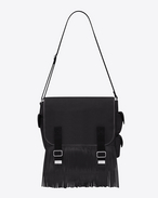 ARMY fringed Messenger Bag in twill di cotone nero e  pelle nera