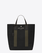 BEACH Shopping Tote Bag in Black and Khaki Canvas and Black Leather