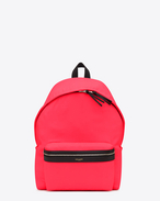 Classic HUNTING backpack in Neon Pink Nylon and Black Leather