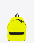 Classic HUNTING backpack in Neon Yellow Nylon and Black Leather