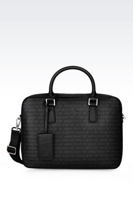 Armani Briefcases Men briefcase in logo patterned faux leather